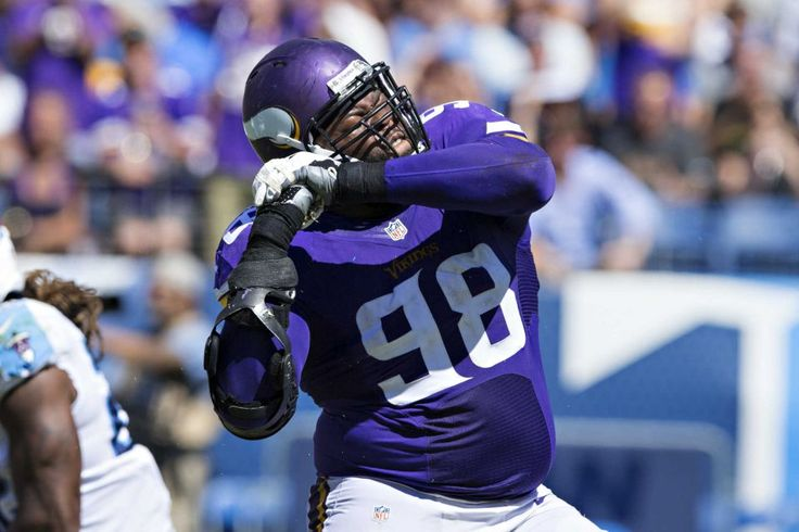 Linval Joseph #98 of the Minnesota Vikings celebrates after sacking the quarterback during a game against the Tennessee Titans at Nissan Stadium on Sept. 11, 2016 in Nashville. The Vikings defeated the Titans 25-16.