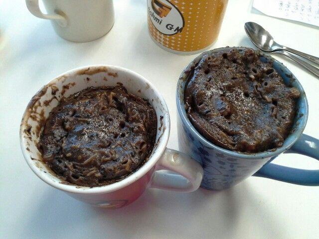 Chocolate cake in mug