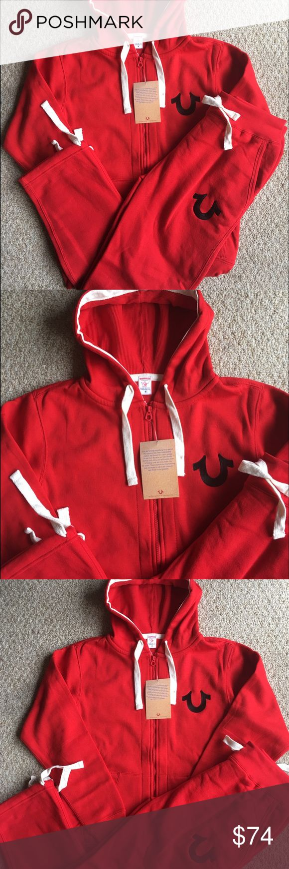New Men's True Religion Hoodie Sweatpants Set Brand new with tags. Red with Black stitch. Drawstring Sweatpants with Zipped Hoodie. Great deal! True Religion Shirts Sweatshirts & Hoodies
