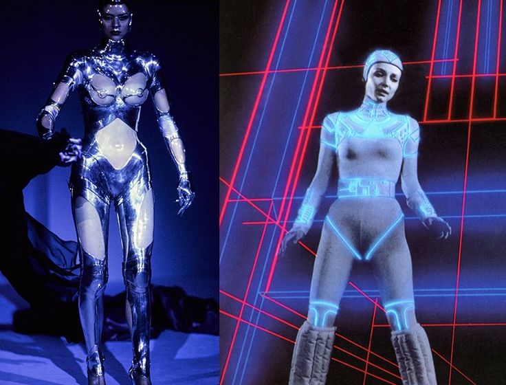Thierry Mugler Haute Couture Fall 1995; Cindy Morgan as Yori in Tron, 1982