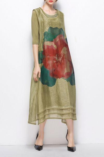 Lifver Green Printed Vinatge Midi Dress With 3/4 Sleeve Dress | Midi Dresses at DEZZAL