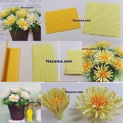 Fon Kağıdından Yapılan Krizantem Çiçeği Fon kağıdından Nasıl 3D Krizantem Çiçeği Yapılır? Resimlerde iki çeşit Krizantem yapımı mevcut. Bir tanesi Şekilgeç kullanarak kolayca yapılıyor. Diğer Kriza…