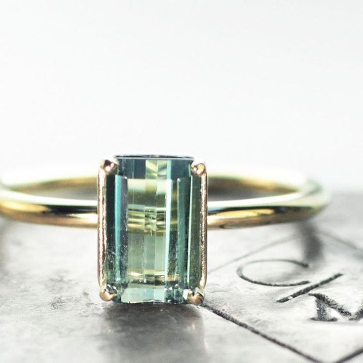 Our new 1.09 carat green tourmaline ring in yellow gold. Handmade with love.  #jewelry #chincharmaloney