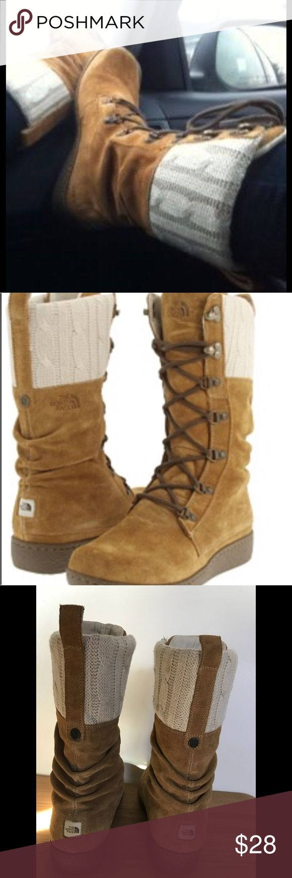North Face Boots Alycia North Face Alycia Laced Boot in Tan Suede & Cream unbleached natural tone Cable Knit insulated with Primaloft comfortable & cute Size 10 Guc except a very small mark on the knit some small marks on the sole Notthface Shoes