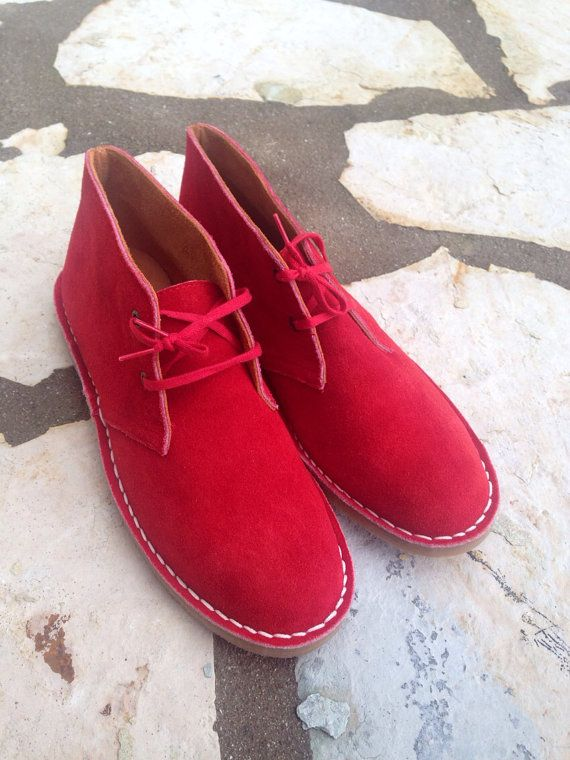 Suede leather boots men women red shoes rubber sole by SANDALIANAS
