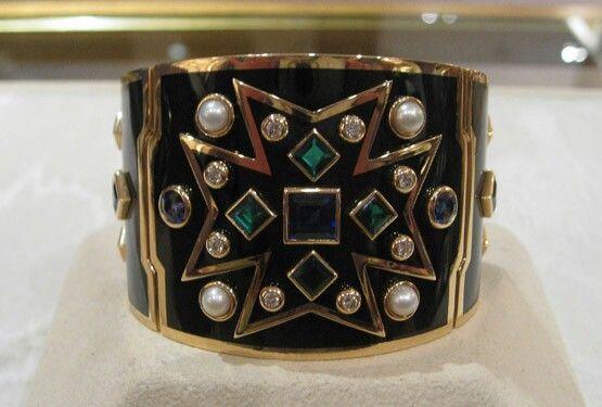 VerduraChevalier bracelet in black enamel, sapphires, emeralds, diamonds and pearls
