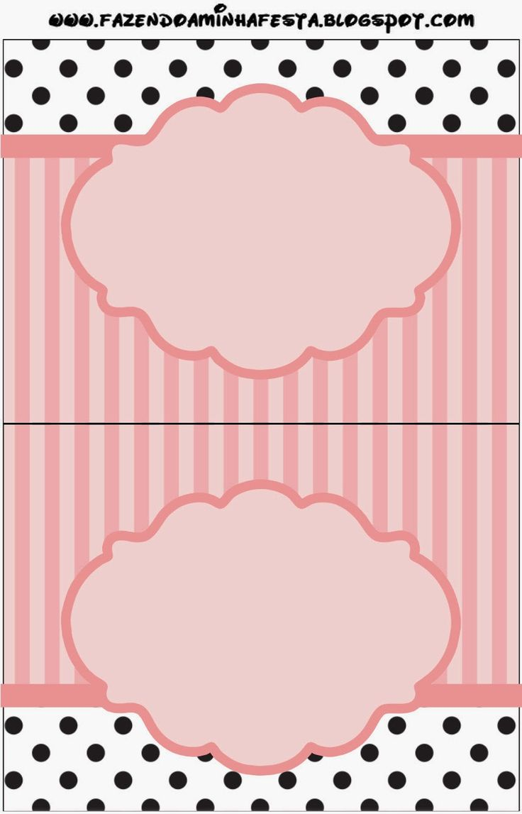 Rayas Rosa y Lunares Negros: Etiquetas para Candy Bar para Imprimir Gratis.