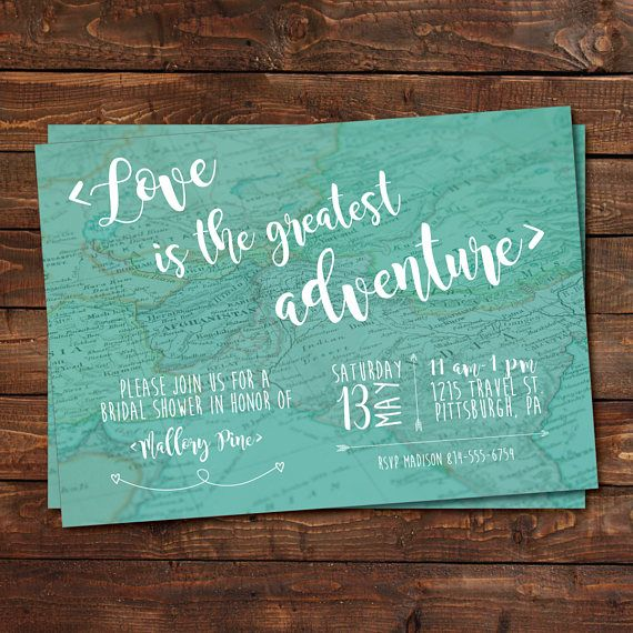 Love is the greatest adventure! Isn't that so true? Celebrate the bride-to-be with this travel themed printable invitation and help her kick off her greatest adventure yet! Travel Map Bridal Shower Invitation Love is the Greatest