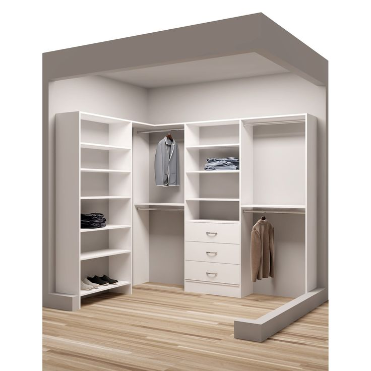 Make the most of your closet space with the Classic White Wood Corner Walk-in Closet Organizer. This closet organizer features a simple, yet stylish design that provides ample space for storing clothe