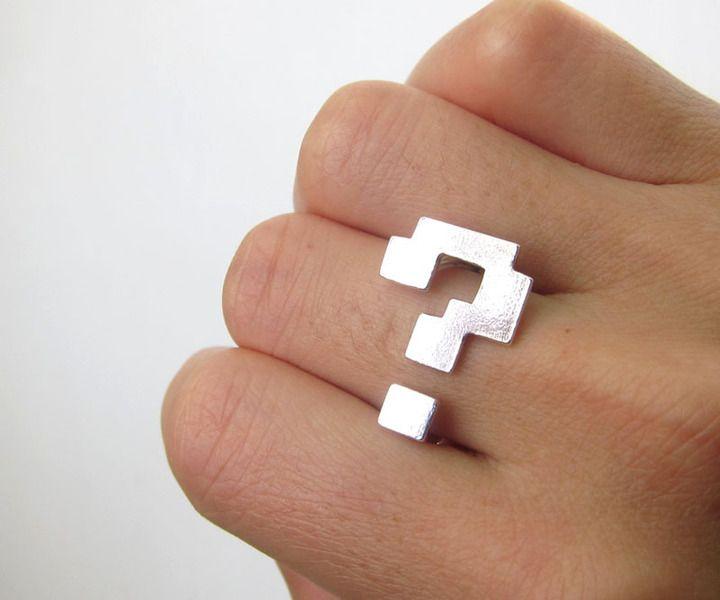 znak zapytania blok srebrny pierścień - pierścień  w Uśmiecha Silversmith Srebrny pierścionek i sklep jubilerski na DaWanda.com