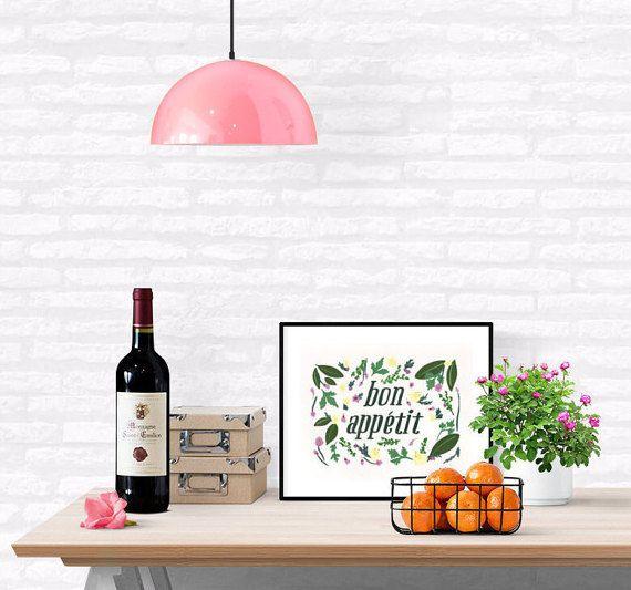 Bon Appetit, Food Art, Kitchen Wall Art, Illustration, 8x10, 5x7 DIGITAL DOWNLOAD Printable