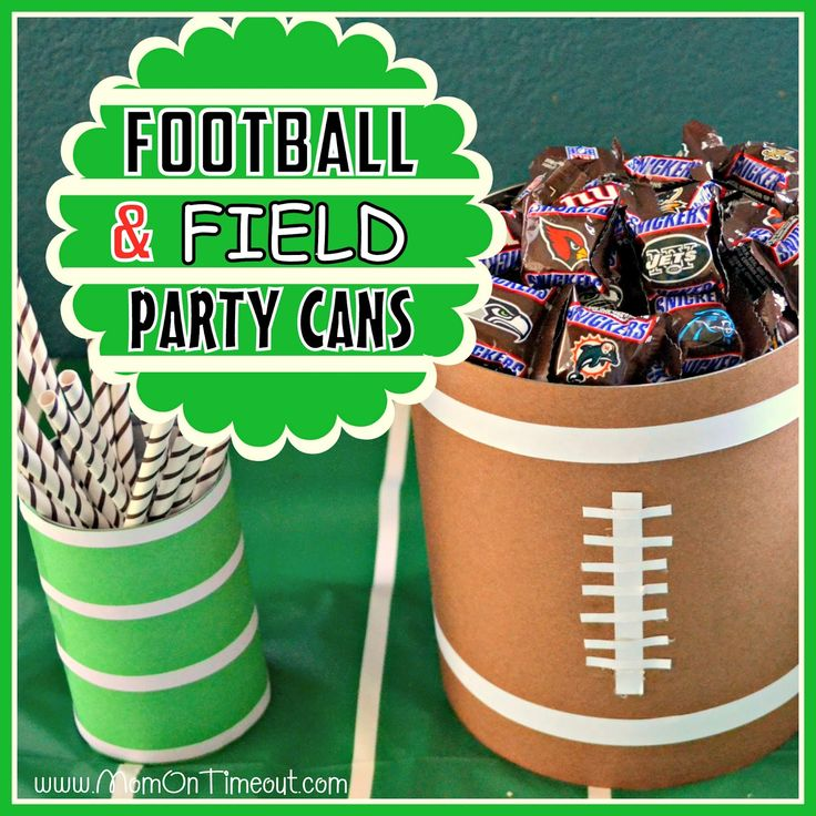 Football Theme: PARTY CANS-A quick and inexpensive way to add a little flair to your next foot ball party - large can to anchor the goal post and a small one for the silverware - Superbowl February 3, 2013