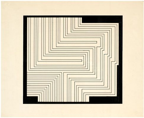 Josef Albers, Study for a Graphic Tectonic, 1941-42 (ca.) Ink and pencil on…
