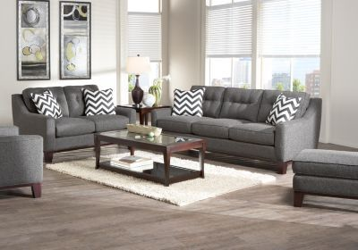hadley sofa from rooms to go home sweet home pinterest cindy crawford grey and gray couches. Black Bedroom Furniture Sets. Home Design Ideas