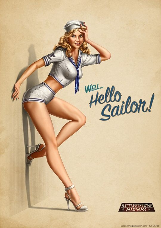 Pin Up Girl Illustrations. Battlestations Midway pin-up 2 by Henning Ludvigsen