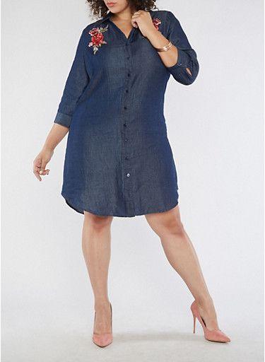Plus Size Floral Applique Chambray Shirt Dress,NAVY