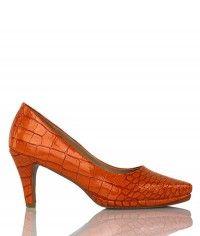 Cheeky - Women's gloss orange crocodile mid heels  $99.00  #shoeenvy #shoes #fashion #instalove #pretty #ethical #glamorous