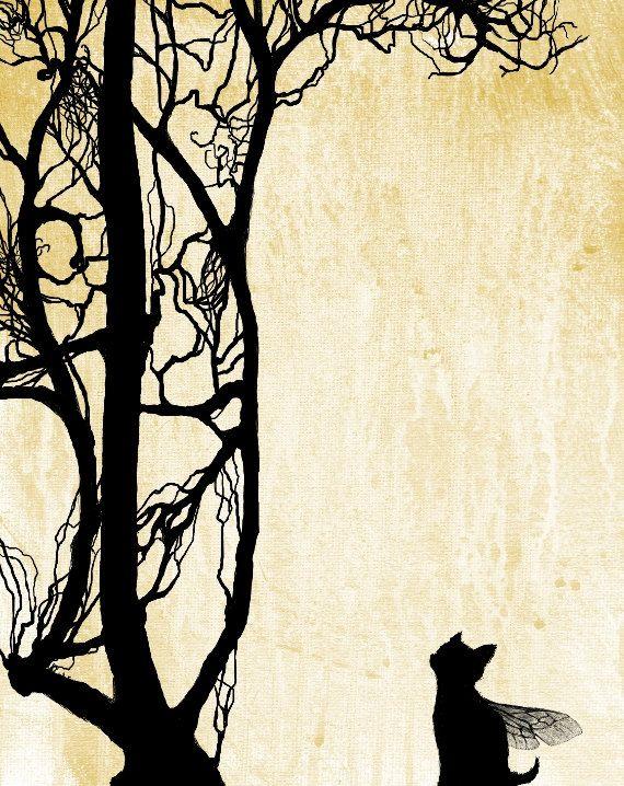 KITTEN FAIRY TREE Silhouette Original Art Print 8 x by LisaGloria,