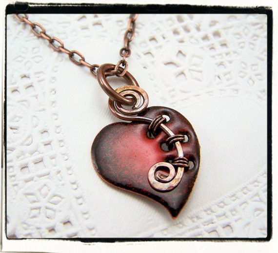 Sweet Red Enamel Glass Heart Pendant with Woven Copper Bail no Chain
