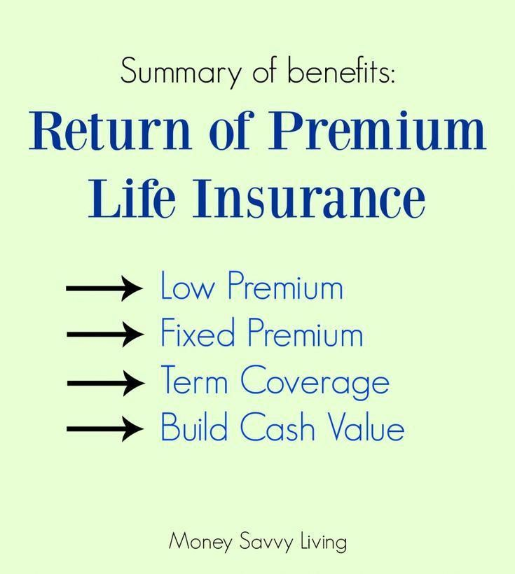 What Is A Return Of Premium Life Insurance Policy And Why You Should Consider Getting One In 2020 Life Insurance Facts Money Savvy Life Insurance Policy