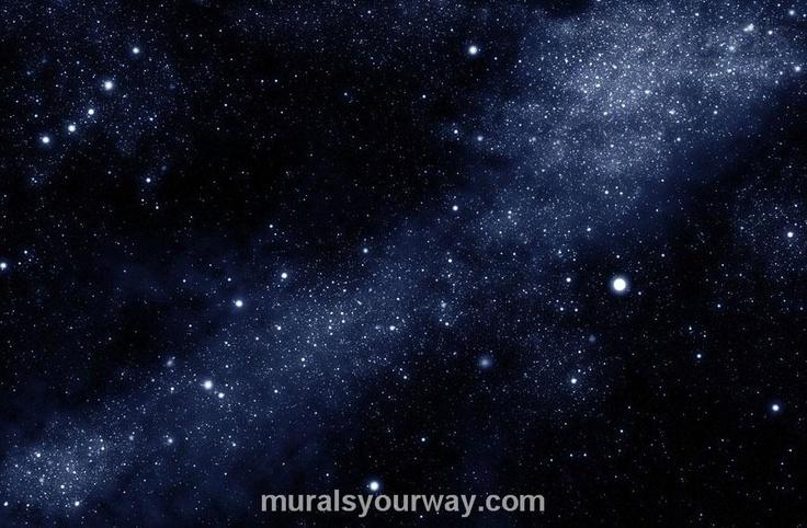 black starry sky galaxy wallpaper mural bedroom