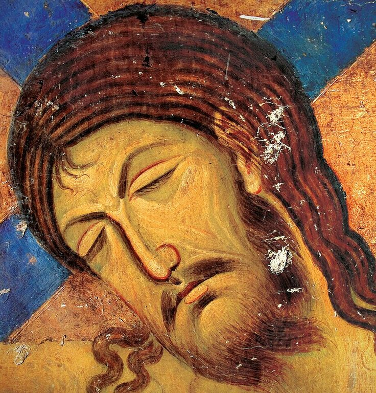 Crucifixion (detail) , fresco from Church of the Holy Virgin, Monastery of Studenica, year:1208. , Serbia