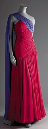 Catherine Walker pink + purple chiffon evening dress [worn by Princess Diana]. Love the colors together!