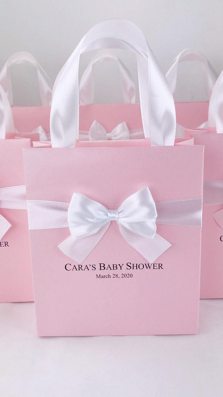 30 elegant baby shower bags with satin ribbon handles bow