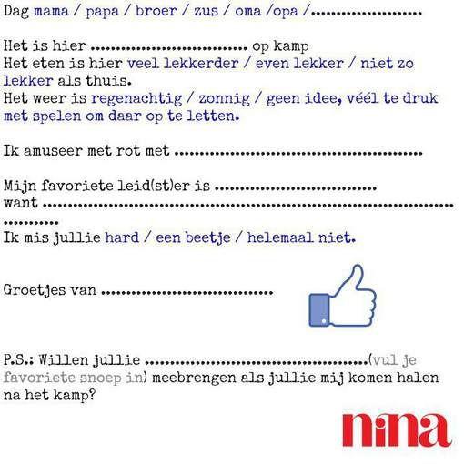 Om af te drukken: NINA's briefpapier voor luie kinderen op zomerkamp