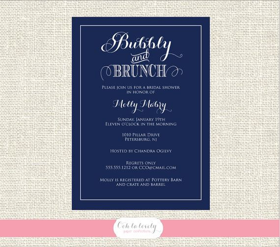 PRINTABLE Navy Champagne Brunch Bridal Shower Invitation, bubbly and brunch, bridesmaids brunch