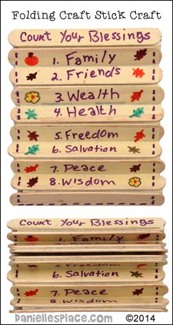 """""""Count Your Blessing"""" Folding Craft Stick Thanksgiving Craft from www.daniellesplace.com - copyright 2014                                                                                                                                                      Más"""