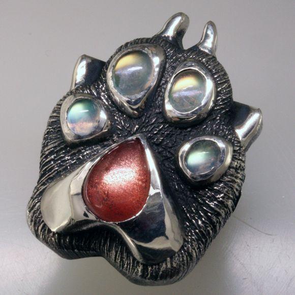 Creative Custom Jewelry Home: Custom Wolf Paw Ring With Rainbow Moonstones And Sunstone