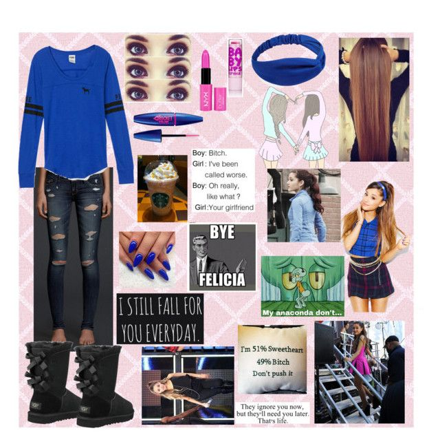 """""""¿ Watcha Say ?"""" by crazychinee ❤ liked on Polyvore featuring Hollister Co., Victoria's Secret PINK, UGG Australia, Forever 21, Maybelline, NYX and ArianaGrande"""