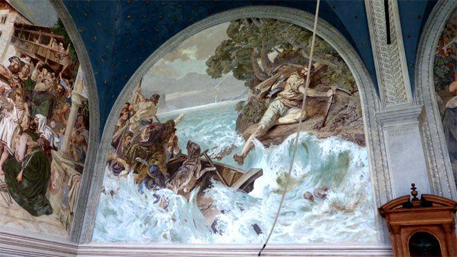 Wilhelm Tell bei seinem gewaltigen Sprung vom Schiff an Land