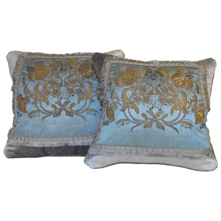 18th Century Metallic Embroidered Pillows | From a unique collection of antique and modern pillows and throws at https://www.1stdibs.com/furniture/more-furniture-collectibles/pillows-throws/
