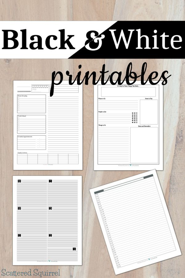 Colourful printables are always nice, but sometimes you just want something simple, or you want to save on ink... that's where these Black and White printables come in.