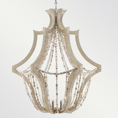 White Oak & White Magnesite bead chandelier.