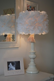 Prettied up lamp shade with tissue flowers