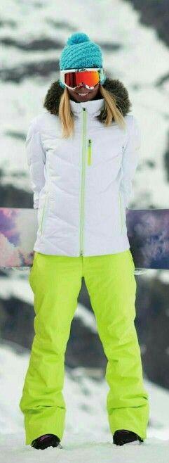 Women's White ROXY Puffer Ski Jacket & Citron Yellow Ski Pants.                                                                                                                                                                                 More
