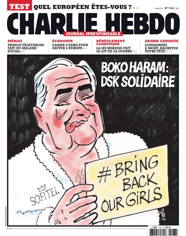 Charlie Hebdo - semaine du 14 mai 2014 - #satire #humour #dsk #parodie #bokoharam #humournoir