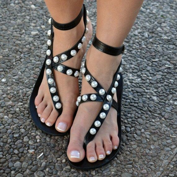 "Introducing our seductively elegant ""Chantalle"" pearl sandals"