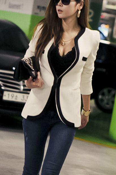 Kremowa marynarka z czarnym wykończeniem - V-neck One Button Blazer Autumn <3