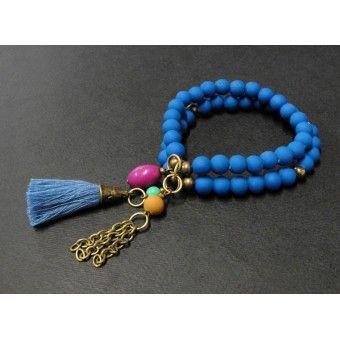pulsera de moda con bola de caucho perla y turquesa