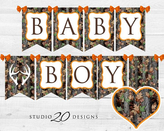 Instant Download Orange Camo Baby Shower Banner by Studio20Designs. This DIY printable BABY BOY camo pennant banner is a great addition to your baby shower's realtree decorations! HOW TO USE: Just print and trim the flags. Then add small hole in the corner of each flag with a hole punch and either (1) thread a string through each hole, or (2) tie them together by threading short ribbons between the corners of two flags and tying a bow at each corner.