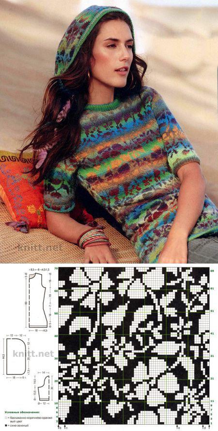 Пуловер с капюшоном и жаккардовым рисунком | knitt.net | Все о вязании | вязание(жаккард,вышивка) | Постила