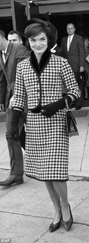 Mrs Kennedy in Houndstooth suit The Daily Mail AP photo
