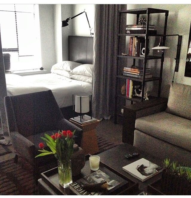 I Like The Set Up, The Vibe Of The Room.like The Idea Of Using A Curtain As  Divider Instead Of Big Bulky Bookcase