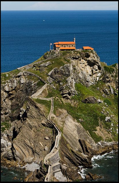Steps path to the San Juan de Gaztelugatxe hermitage, in an island in front of the north coast of Bizkaia, Basque Country