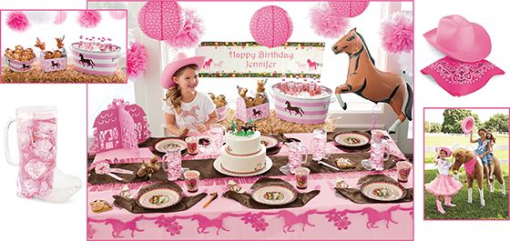 "horses birthday party - rustle up a birthday party ""on the trail"" for your horse-loving girl. guests can gear up with cowgirl hats and bandanas, and enjoy treats from whimsical tableware and cowboy boot mugs. send 'em all home with fun-filled favor bags."