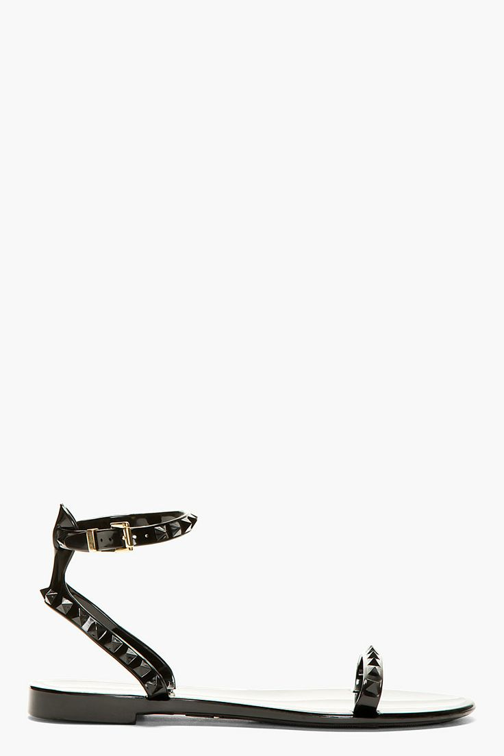 VALENTINO Black Vinyl Studded Sandals